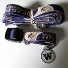 University Of Washington Huskies Pet Dog Set Leash Collar ID Tag Small