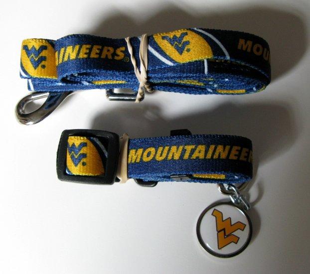 West Virginia University Mountaineers Pet Dog Set Leash Collar ID Tag Small
