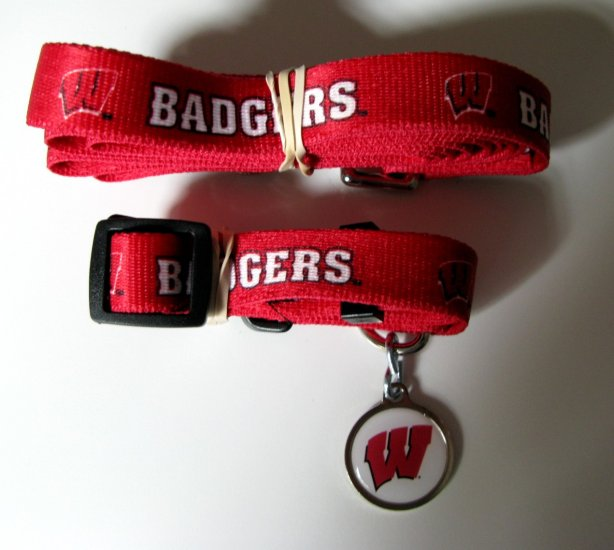 Wisconsin University Badgers Pet Dog Set Leash Collar ID Tag Large