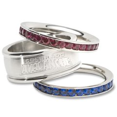 Colorado Avalanche Team Crystal Stacked Rings Set