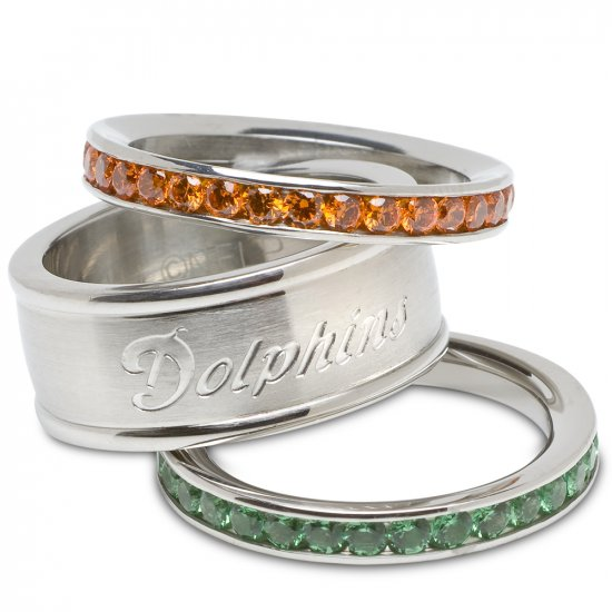 Miami Dolphins Team Crystal Stacked Rings Set