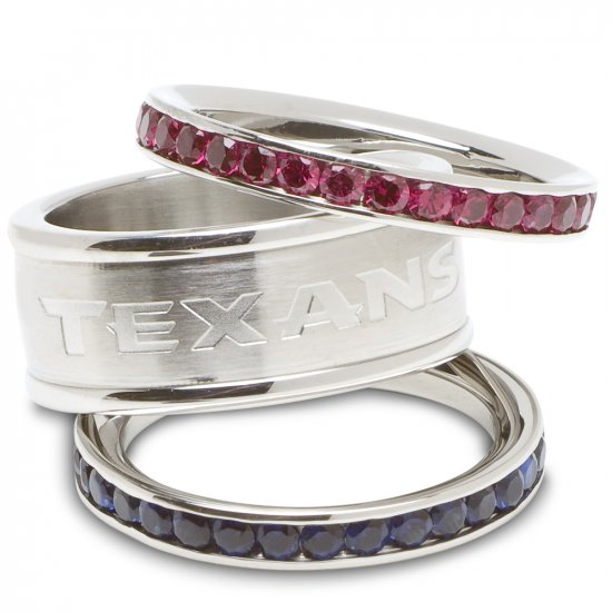 Houston Texans Team Crystal Stacked Rings Set