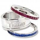 Philadelphia Phillies Team Crystal Stacked Rings Set