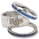 Tampa Bay Rays Team Crystal Stacked Rings Set