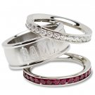 University of Alabama Crimson Tide Team Crystal Stacked Rings Set