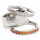 University Of Tennessee Volunteers Vols Team Crystal Stacked Rings Set