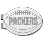 Green Bay Packers Silver Plated Laser Etched Football Money Clip