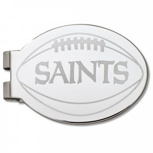 New Orleans Saints Silver Plated Laser Etched Football Money Clip
