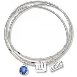 New York Giants Triple Bangle Crystal Logo Charm Bracelets