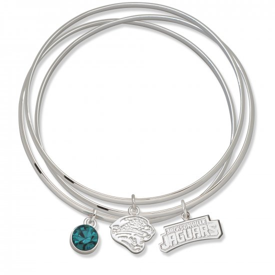 Jacksonville Jaguars Triple Bangle Crystal Logo Charm Bracelets