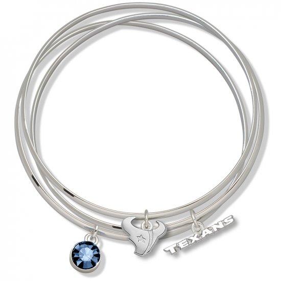 Houston Texans Triple Bangle Crystal Logo Charm Bracelets