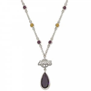 Los Angeles Lakers Team Color Crystal Logo Necklace