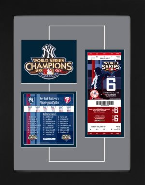 New York Yankees 2009 World Series Replica Ticket & Patch Frame