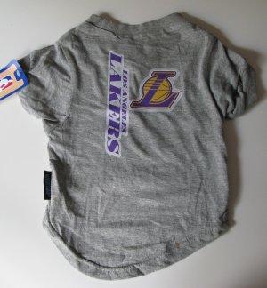 Los Angeles Lakers Pet Dog T-Shirt Tee Gray Large