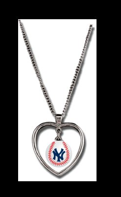 New York Yankees Necklace w/ Baseball in Heart Charm Cute