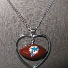 Miami Dolphins Necklace w/ Football in Heart Charm Cute