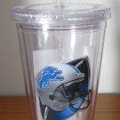Detroit Lions 16oz Travel Cup Tumbler w/Straw No Spill Lid NO BPA