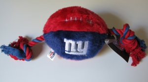 New York Giants Plush Football Squeaky Dog Toy w/ Rope