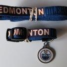 Edmonton Oilers Pet Dog Leash Set Collar ID Tag Small