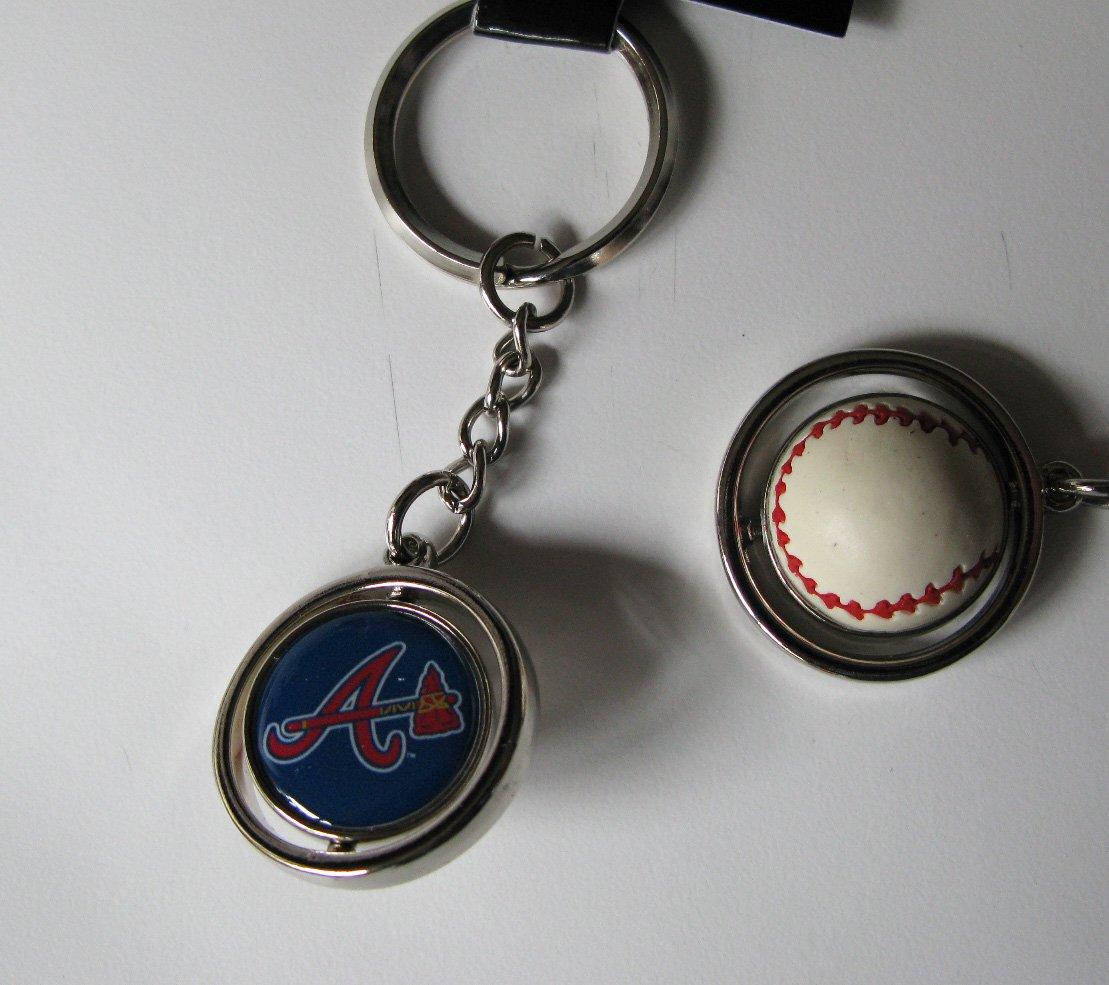 Atlanta Braves Rubber Baseball Spinner Keychain Key Ring
