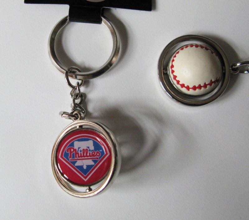 Philadelphia Phillies Rubber Baseball Spinner Keychain Key Ring