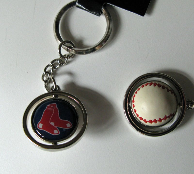 Boston Red Sox Rubber Baseball Spinner Keychain Key Ring
