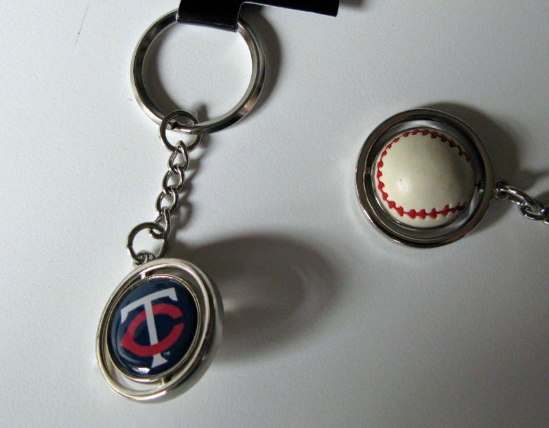 Minnesota Twins Rubber Baseball Spinner Keychain Key Ring