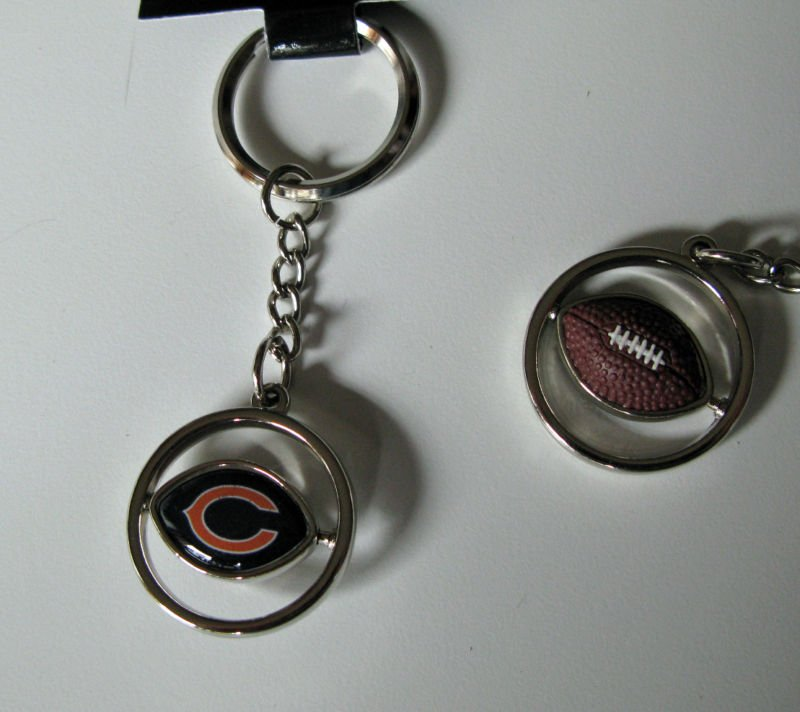 Chicago Bears Rubber Football Spinner Keychain Key Ring