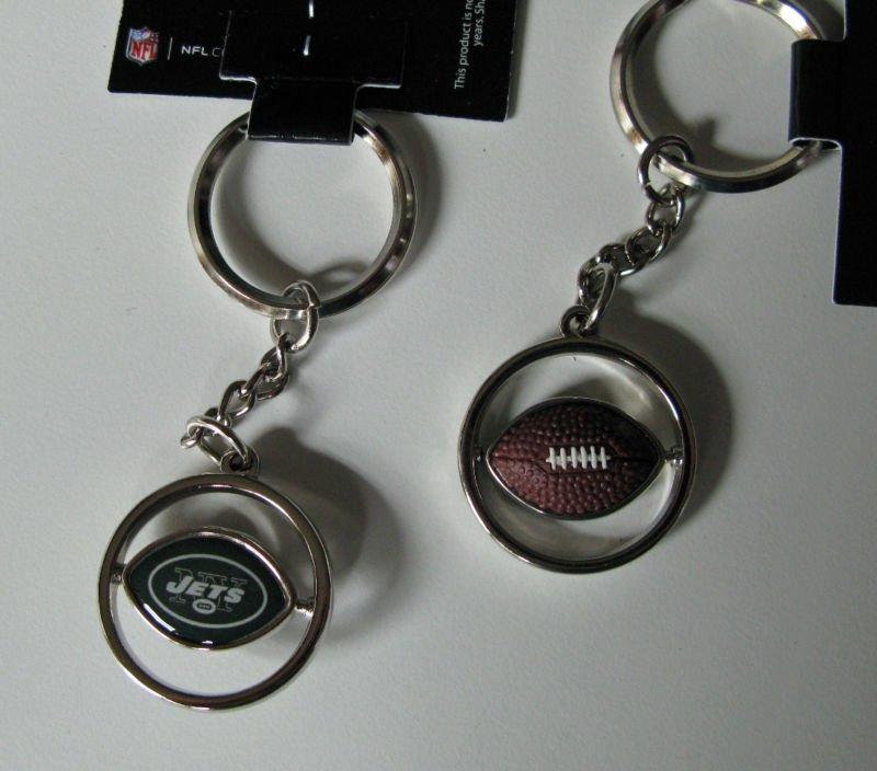 New York Jets Rubber Football Spinner Keychain Key Ring