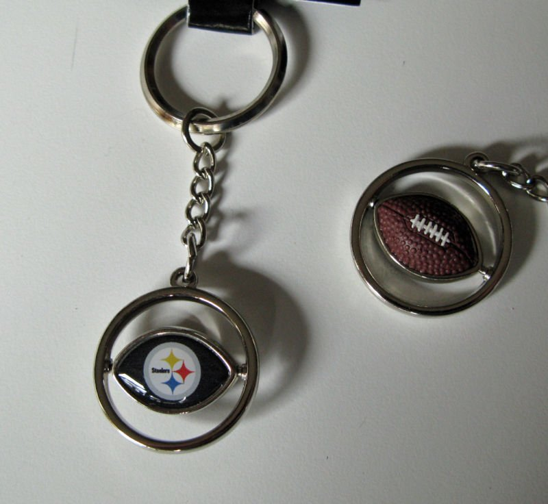 Pittsburgh Steelers Rubber Football Spinner Keychain Key Ring