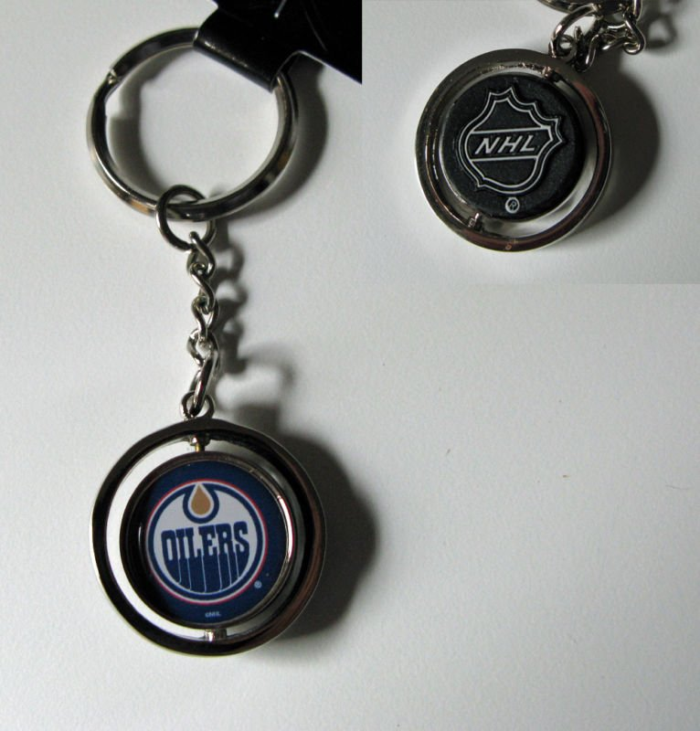 Edmonton Oilers Rubber Puck Spinner Keychain Key Ring