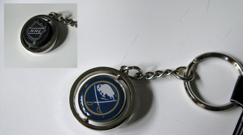 Buffalo Sabres Rubber Puck Spinner Keychain Key Ring