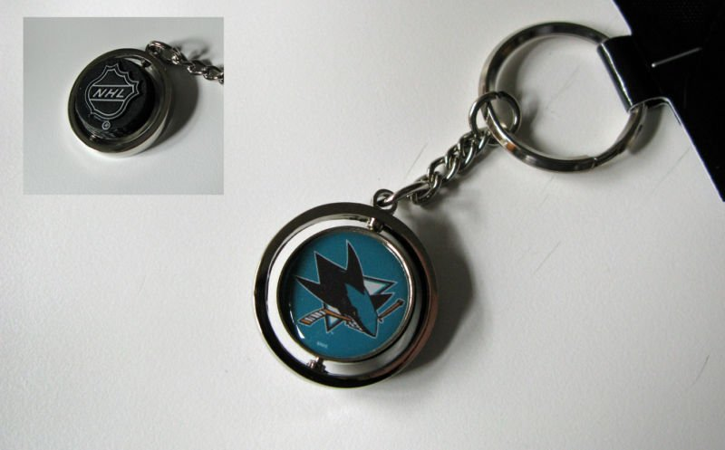 San Jose Sharks Rubber Puck Spinner Keychain Key Ring
