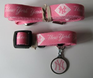 New York Yankees PINK Pet Set Dog Leash Collar ID Tag Medium