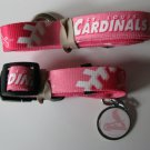 St. Louis Cardinals PINK Pet Set Dog Leash Collar ID Tag Small