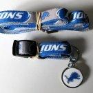 Detroit Lions Pet Dog Leash Set Collar ID Tag XS