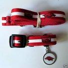 Arkansas University Razorbacks Pet Dog Leash Set Collar ID Tag XS