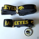 Iowa University Hawkeyes Pet Dog Leash Set Collar ID Tag XS