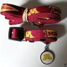 Minnesota University Golden Gophers Pet Dog Leash Set Collar ID Tag XS