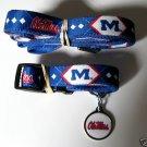 Mississippi University Rebels Pet Dog Leash Set Collar ID Tag XS