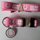 Indianapolis Colts PINK Pet Set Dog Leash Collar ID Tag XS