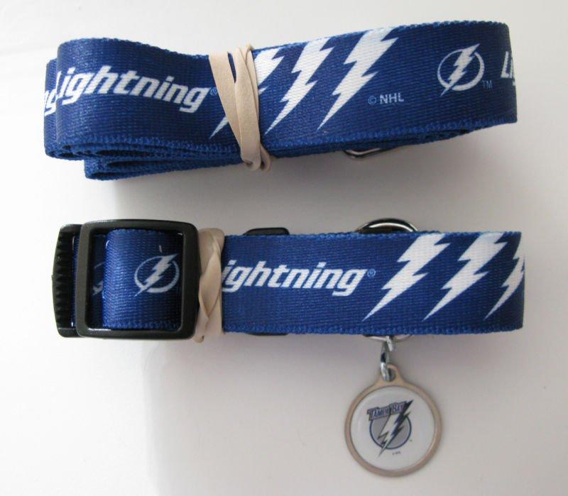Tampa Bay Lightning Pet Dog Leash Set Collar ID Tag Medium