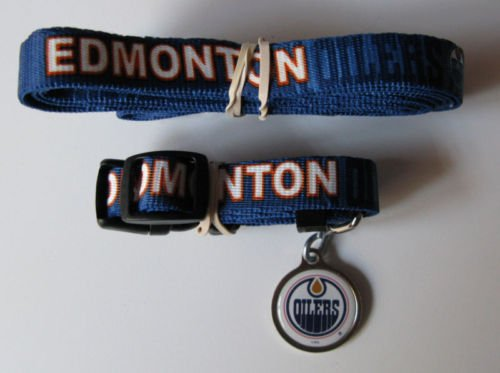 Edmonton Oilers Pet Dog Leash Set Collar ID Tag Gift Size Medium