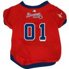 Atlanta Braves Pet Dog Baseball Jersey w/Buttons Small