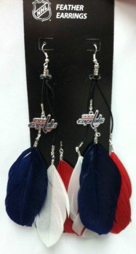 Washington Capitals Feather Earrings w/ Charms