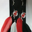 New Jersey Devils Feather Earrings w/ Charms