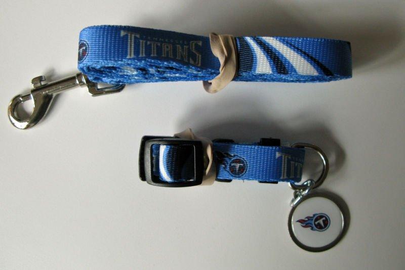 Tennessee Titans Pet Dog Leash Set Collar ID Tag Medium
