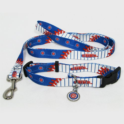 Chicago Cubs Dog Pet Set Leash Collar ID Tag Large
