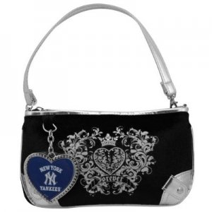 New York Yankees Luxe Velour Wristlet Purse w/ Crystals
