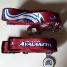 Colorado Avalanche Pet Dog Leash Set Collar ID Tag Large